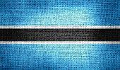 Botswana flag on burlap fabric