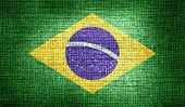 Brazil flag on burlap fabric