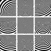 Abstract circular backgrounds set. Vector art.