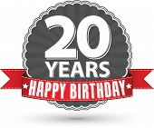Happy birthday 20 years retro label with red ribbon, vector illustration