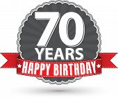 foto of 70-year-old  - Happy birthday 70 years retro label with red ribbon - JPG