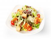 Restaurant Food Isolated - Caesar Salad With Shrimps