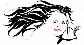 Woman with wind blowing in hair