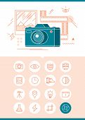 Photography Banner With Related Set Of Icons