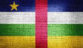 Central African Republic flag on burlap fabric