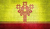 Chuvashia flag on burlap fabric