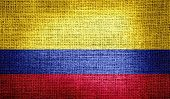 Colombia flag on burlap fabric