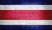 Costa Rica flag on burlap fabric