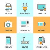 Electronics And Devices Line Icons Set