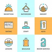 image of key  - Line icons set with flat design elements of hotel services and luxury resort accommodation reception bell room keys leisure activity tourist baggage - JPG