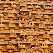 foto of trichy  - great architecture of Hindu Temple element entrance gate bas - JPG