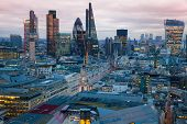 LONDON, UK - JANUARY 27, 2015: City of London, business and banking aria. London's panorama in sun s