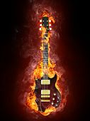 pic of infernos  - Electric Guitar in fire Isolated on Black Background - JPG