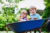 Two Little Boys Having Fun In Wheelbarrow Pushing By Father