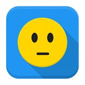 Pensive Yellow Smile App Icon With Long Shadow