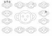 Linear Monkey Faces Emoji
