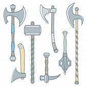 picture of mace  - vector colored outline cold medieval weapons set with ax axe hammer mace halberd battle poleax - JPG