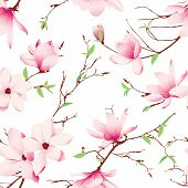 stock photo of japanese magnolia  - Spring magnolia flowers seamless vector pattern - JPG