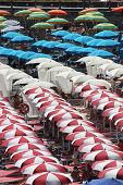 Colorful Beach Umbrellas On Amalfi Beach