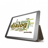 stock photo of dialect  - Dialog word cloud on tablet image with hi - JPG