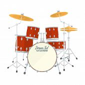picture of drum-set  - color flat style vector drum set on white background bass tom - JPG