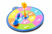 Colorful dartboard with arrows