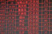 Chinese Timetable Train Main Station Peking