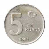 stock photo of turkish lira  - Five Turkish kurus coin closeup isolated on white background - JPG