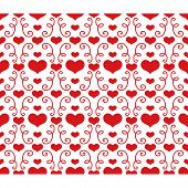 Seamless pattern with hearts and swirls