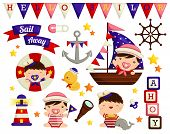 picture of baby duck  - a vector of a Nautical Baby vector collection - JPG