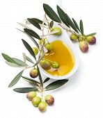 Raw Olives And Olive Oil