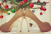 image of sweet sixteen  - Debutant shoes under a garnished christmas tree - JPG