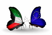Two Butterflies With Flags On Wings As Symbol Of Relations Kuwait And European Union