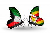 Two Butterflies With Flags On Wings As Symbol Of Relations Kuwait And Zimbabwe
