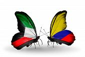 Two Butterflies With Flags On Wings As Symbol Of Relations Kuwait And Columbia