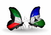 Two Butterflies With Flags On Wings As Symbol Of Relations Kuwait And Lesotho
