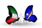 Two Butterflies With Flags On Wings As Symbol Of Relations Kuwait And Marshall Islands