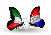 Two Butterflies With Flags On Wings As Symbol Of Relations Kuwait And Paraguay