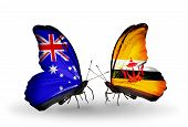 Two Butterflies With Flags On Wings As Symbol Of Relations Australia And Brunei