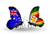 Two Butterflies With Flags On Wings As Symbol Of Relations Australia And Zimbabwe