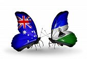 Two Butterflies With Flags On Wings As Symbol Of Relations Australia And Lesotho