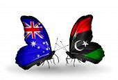 picture of libya  - Two butterflies with flags on wings as symbol of relations Australia and Libya - JPG