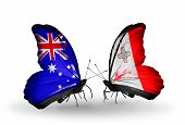 Two Butterflies With Flags On Wings As Symbol Of Relations Australia And Malta
