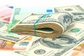 picture of 100 dollars dollar bill american paper money cash stack  - Pile of money - JPG