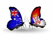 stock photo of serbia  - Two butterflies with flags on wings as symbol of relations Australia and Serbia - JPG