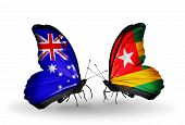 Two Butterflies With Flags On Wings As Symbol Of Relations Australia And Togo