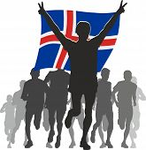 Athlete with the Iceland flag at the finish