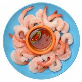 Fresh Boiled Shrimps In Dish
