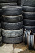 Stacks Of Used Tires