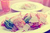 Creative caesar salad, toned, light leak old film imitation